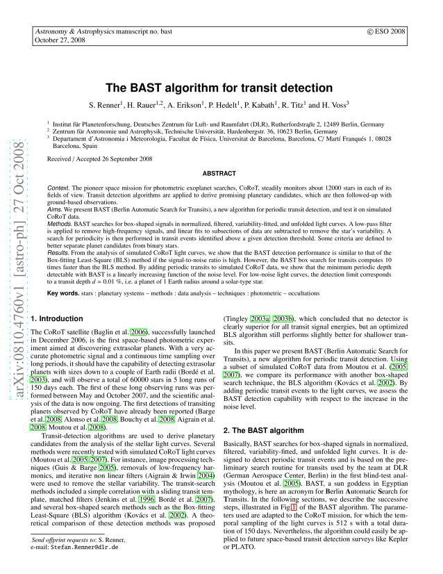S. Renner - The BAST algorithm for transit detection