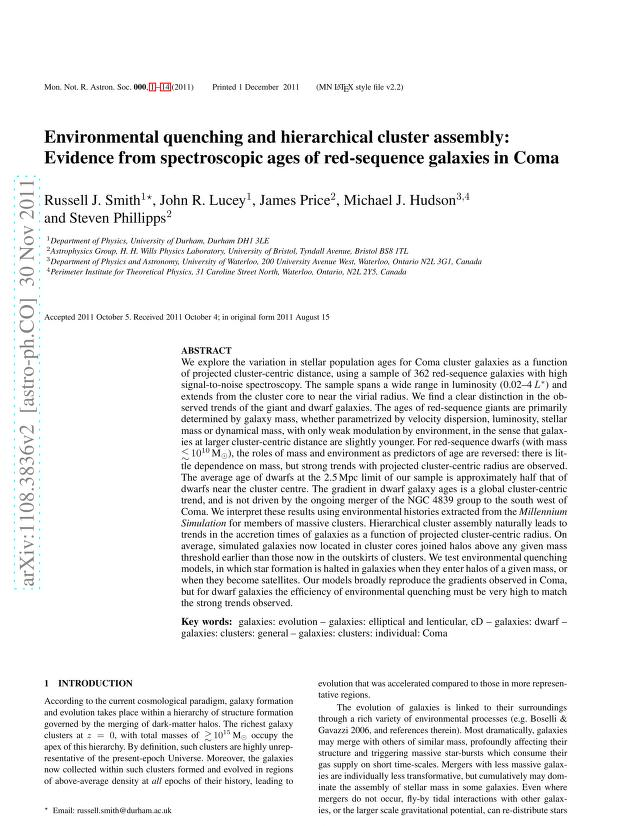 Russell J. Smith - Environmental quenching and hierarchical cluster assembly: Evidence from spectroscopic ages of red-sequence galaxies in Coma