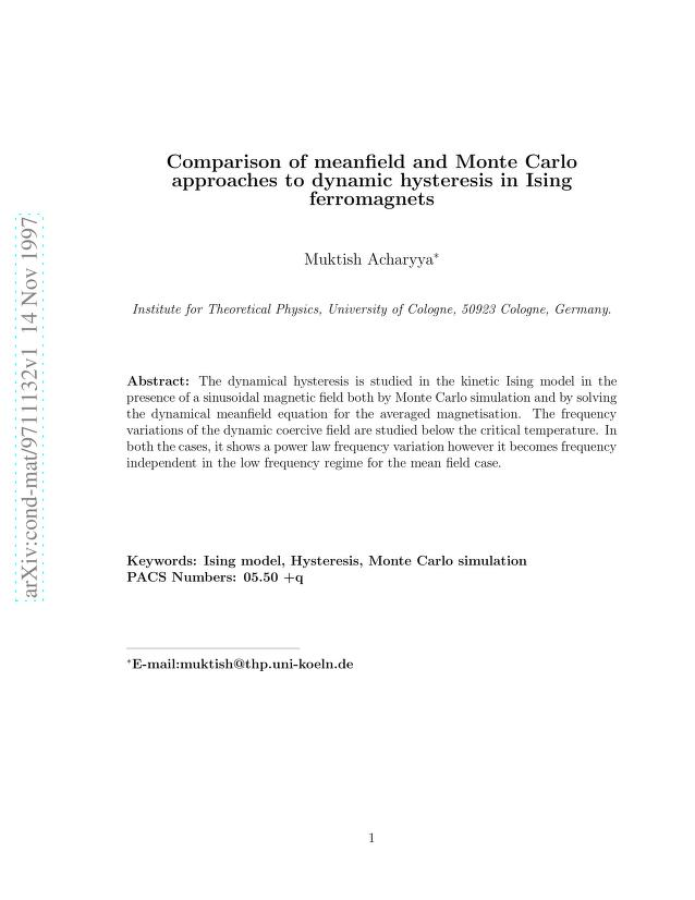 Muktish Acharyya - Comparison of meanfield and Monte Carlo approaches to dynamic hysteresis in Ising ferromagnets