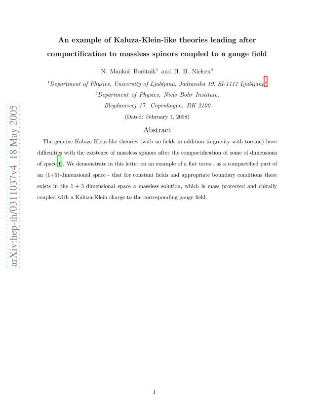 N. S. Mankoc Borstnik - An example of Kaluza-Klein-like theories leading after compactification to massless spinors coupled to a gauge field