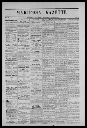 Mariposa Gazette 1857 03 20 Unknown Free Download Borrow And Streaming Internet Archive