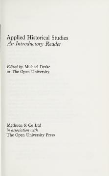 Cover of: Applied historical studies | Michael Drake