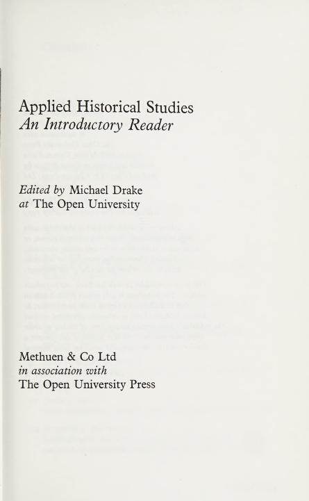 Applied historical studies by Michael Drake