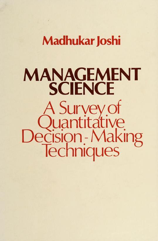 Management science by Madhukar V. Joshi