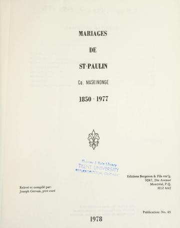 Cover of: Mariages de St-Paulin, co. Maskinongé, 1850-1977   Joseph Gervais
