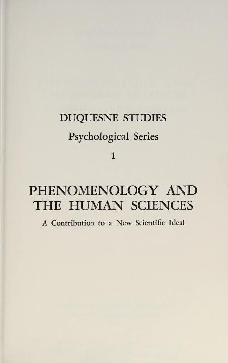 Phenomenology and the Human Sciences a Contribution by S. Strasser