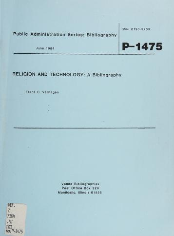 Cover of: Religion and technology   Frans C. Verhagen