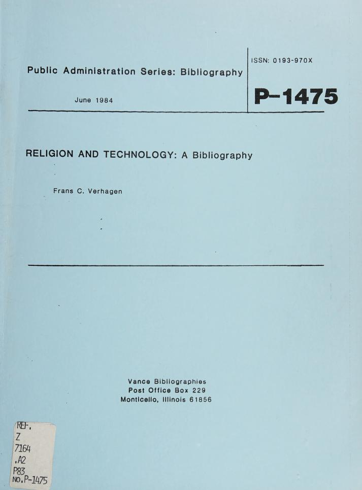 Religion and technology by Frans C. Verhagen