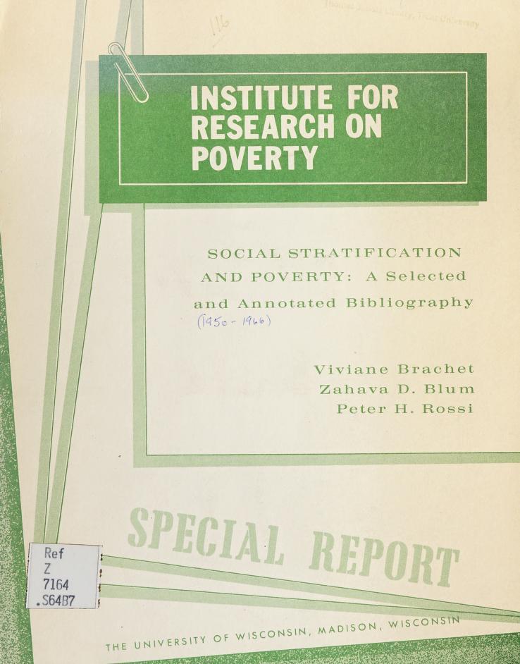 Social stratification and poverty by Viviane B. de Márquez